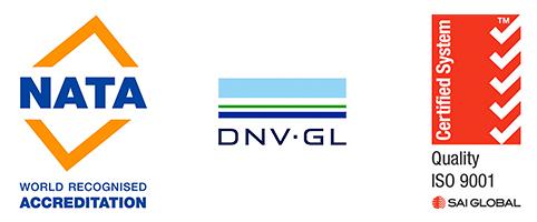 NATA DNV-GL and ISO 9001 Logos