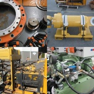 A group of four photos of hydraulic hoses or parts