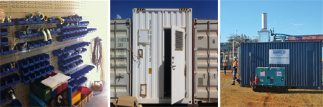 Internal and External Photos of Hoseco's On-Site Containerised Workshop
