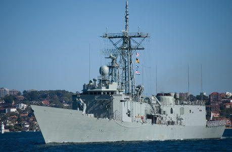 A photo of a navy ship